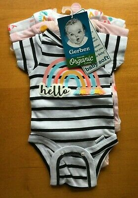 Gerber Baby Girls 3-Pack Organic Cotton Pink Onesies Hello 12M - FREE SHIPPING!