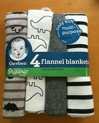 Gerber Baby Organic Cotton 4-Pack Flannel Blankets Dinosaur - FREE SHIPPING!
