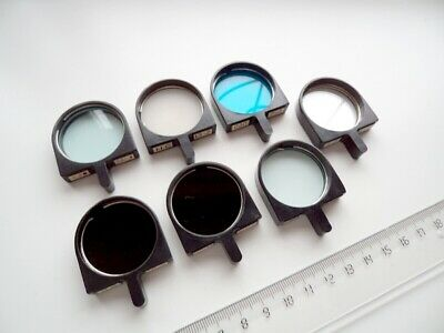 Light filters for microscope, 32 mm, 7 pieces, all different
