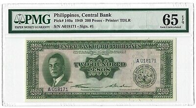 PHILIPPINES 200 Pesos 1949, P-140a English Series, PMG 65 EPQ GEM UNC, Quezon