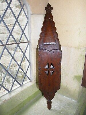Fine Rare Early Antique Gothic Carved Oak Highly Patinated Church Candle Box