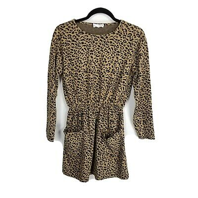 Zara Kids 13 14 leopard print dress youth girls brown black long sleeve cinched