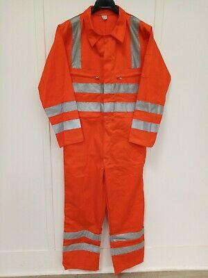 Brand new Orange Hi Vis overalls coverall zipped front ruler / pencil pockets