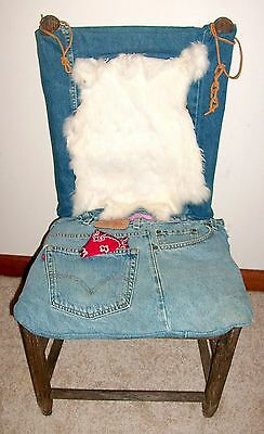 Cool Antique Rustic Wood-Jeans-Rabbit Fur Repurposed One-of-a-Kind Small Chair*