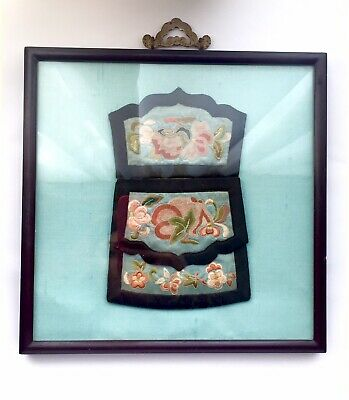 19th Century Chinese Embroidered Silk Purse In Wood Frame Floral Pink Black Blue