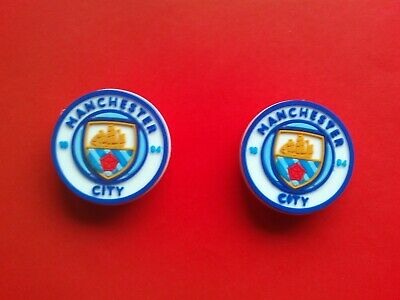 2 Man City Football Club badges jibbitz croc shoe charms cake toppers