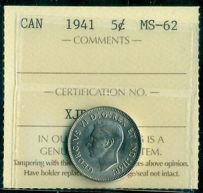 1941 Canada King George VI Five Cent ICCS MS-62  XJB 562