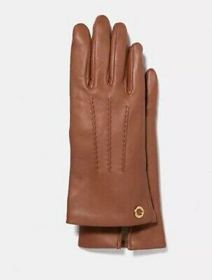 COACH Gloves Leather Saddle Camel Brown Merino Wool Lined Womens 7 M F32700 $135