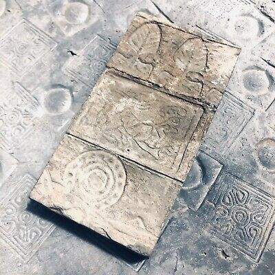 Ancient Chinese ANTIQUE Tomb Brick with Tiger Trees  round jade  Han Dynasty