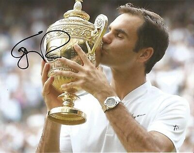 Hand Signed 8x10 photo ROGER FEDERER - WIMBLEDON TENNIS CHAMPION + my COA