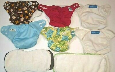 EUC Lot Reusable Adjustable Pocket Cloth Diapers Bumpkins Lotus Baby Smartipant