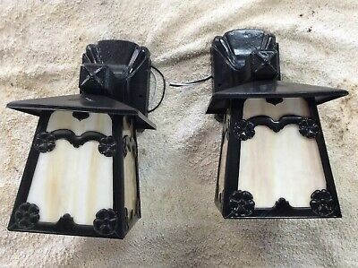 Antique Original Pair Cast Iron Arts Crafts Slag Glass Porch Wall Lights
