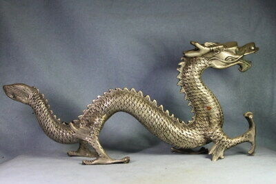 Collectable Handicraft Ancient Miao Silver Carving Big Dragon Exquisite Statue