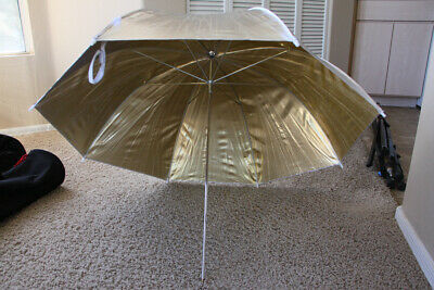 """Photography Lighting Umbrellas - Lot of 2 - Gold/Silver & White/Translucent 36"""""""