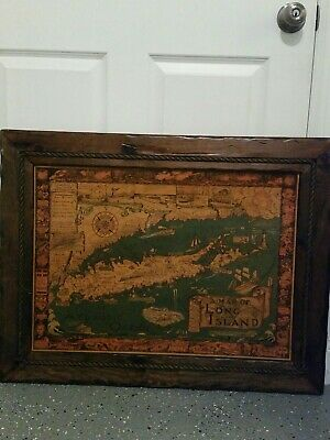 Long Island New York Pictorial Map Courtland Smith c1961 Vtg wood wall hanging
