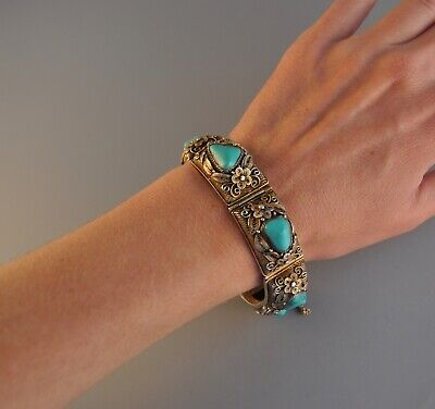 Antique Vtg - Silver Filigree Turquoise Bracelet - Chinese Export Flowers Floral