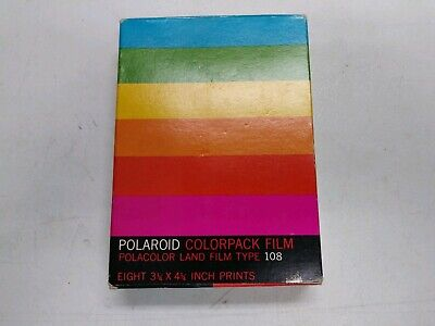 Vintage Polaroid ColorPack Film Polacolor Land Film Type 108 8 PRINTS NEW SEALED
