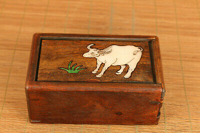 Chinese wood hand carving cow statue inlay conch box secret button open rare