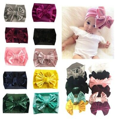 Unisex Baby Velvet Big Bow Tie Head Wrap Turban Top Knot Headband Newborn Kids