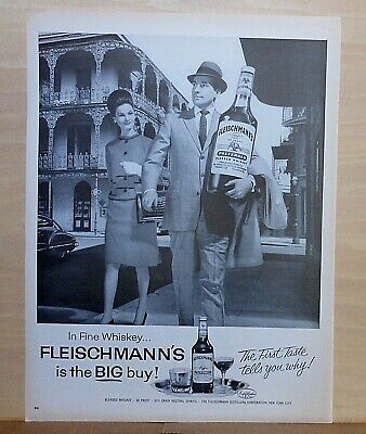 1963 magazine ad for Fleischmann's Whisky - Man with bottle visits New Orleans