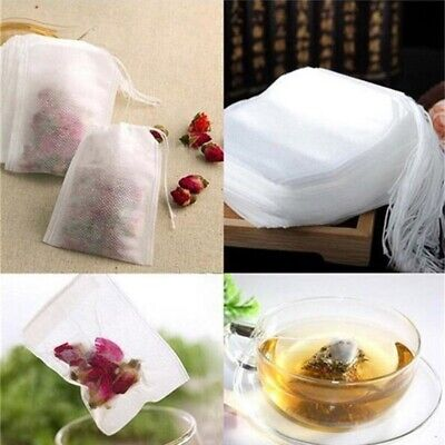100x Empty Tea Bags String Heat Seal Filter Paper Herb Loose Teabags Useful