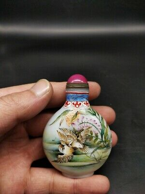 Antique collection old Colored glass hand-painted reed Magpie snuff bottle
