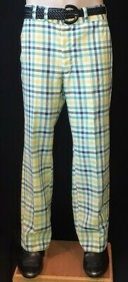 Checked golf pants, green/ yellow, linen, 1960's, USA, by 'Corbin', size 34""