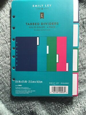 EMILY LEY Tabbed Dividers Solid Colors red/blue/green/pink