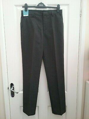 Marks and Spencer Boys Charcoal Grey Slim School trousers Age 14/15 Years Long B