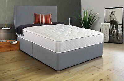 MODERN GREY FABRIC DIVAN BED WITH MEMORY MATTRESS AND HEADBOARD 4FT6 Double 5FT