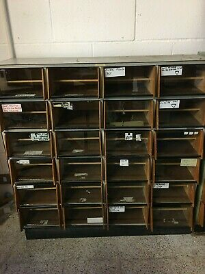 Index card display unit. 24 slots. Fabulous antique with glass front drawers.