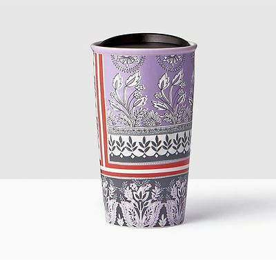 New 2017 Starbucks Purple Floral Double Wall Ceramic Travel Tumbler Mug