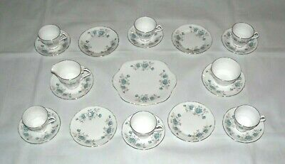 21 Piece Royal Windsor Fine Bone China Blue Floral Patterned Tea Set