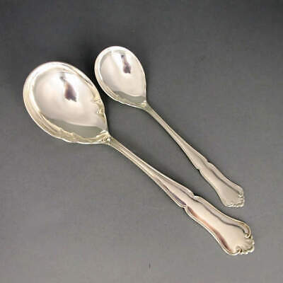 Antique Art Nouveau 2 Serving Spoon Silver Thorvald Marthinsen Norway Tonsberg
