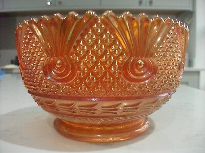 Carnival Glass Sowerby Dark Marigold Sea Thistle/Cane And Scroll Bowl