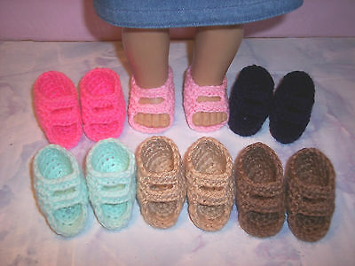6 Pairs Of Hand Crochet Sandals Shoes For The American Girl Doll