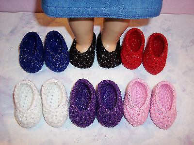 6 Pairs Of Sparkle Hand Crochet Shoes For The American Girl Doll