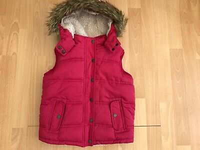 FATFACE Hooded Pink Fleece Lined Padded Girls Gilet @ Size 6 - 7 Yrs Bodywarmer