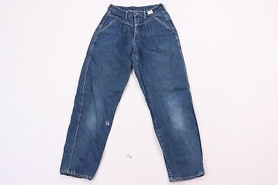 Vintage 80s Girls Juniors Size 5 Distressed Tapered Leg Denim Jeans Pants Blue