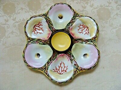 Oyster Plate Antique Hand Painted Porcelain Seaweed, Shells, Coral French German