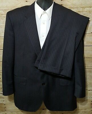 Jos A Bank Signature Gold 42R Charcoal Gray Pinstriped Men's Wool 2 Piece Suit