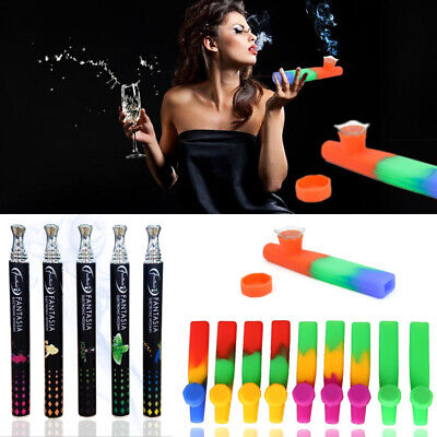 Silicone Hand Tobacco Smoking Pipe with Cap Bowl Herb Cigarette Filter Holder US
