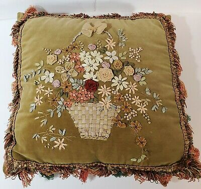 Vintage Green Velvet Pillow Silk Ribbon Floral Embroidery Flower Basket