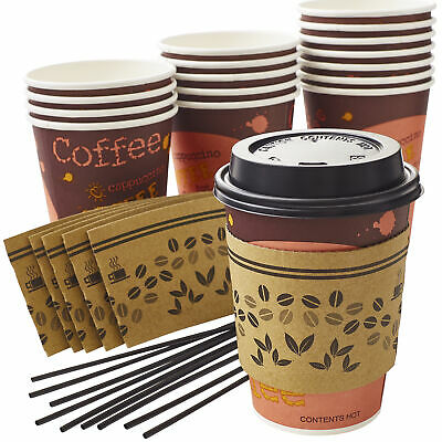 Leak-Free, All-in-One Coffee Cup Set 12 Oz with Sleeves, Lids, and Stirrers