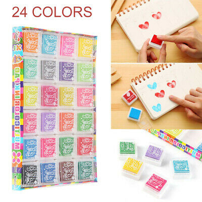 12/24 Colors Creative Finger Print Inkpad Set Ink Pad Stamp Stamp Pad Craft AU