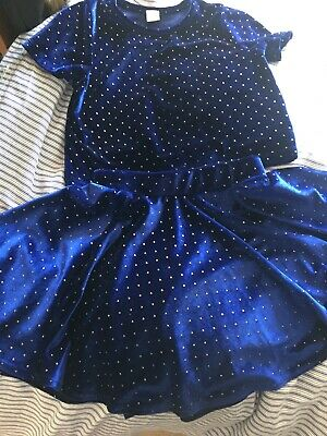 Gorgeous TU Girls Blue Velvet Set Matching Skirt Top Age 5 Excellent Condition