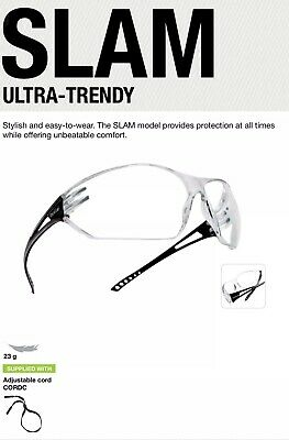 Bolle Slam SLAPSI Safety Glasses With Adjustable Cord - Clear