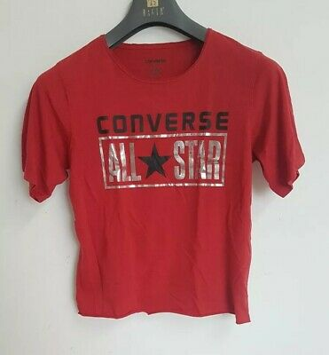 Converse All Star Girls Crop Top Sz L cropped Oversized Red Big Logo