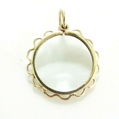 Old antique 9ct gold magnify glass fob pendant I think this use to be a locket