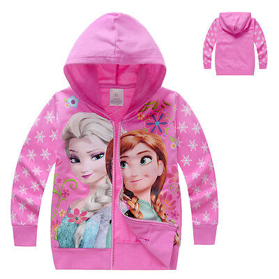 Frozen Elsa Anna Zipped Hoodie Jacket Coat UK STOCK Girls Infants  pink all ages